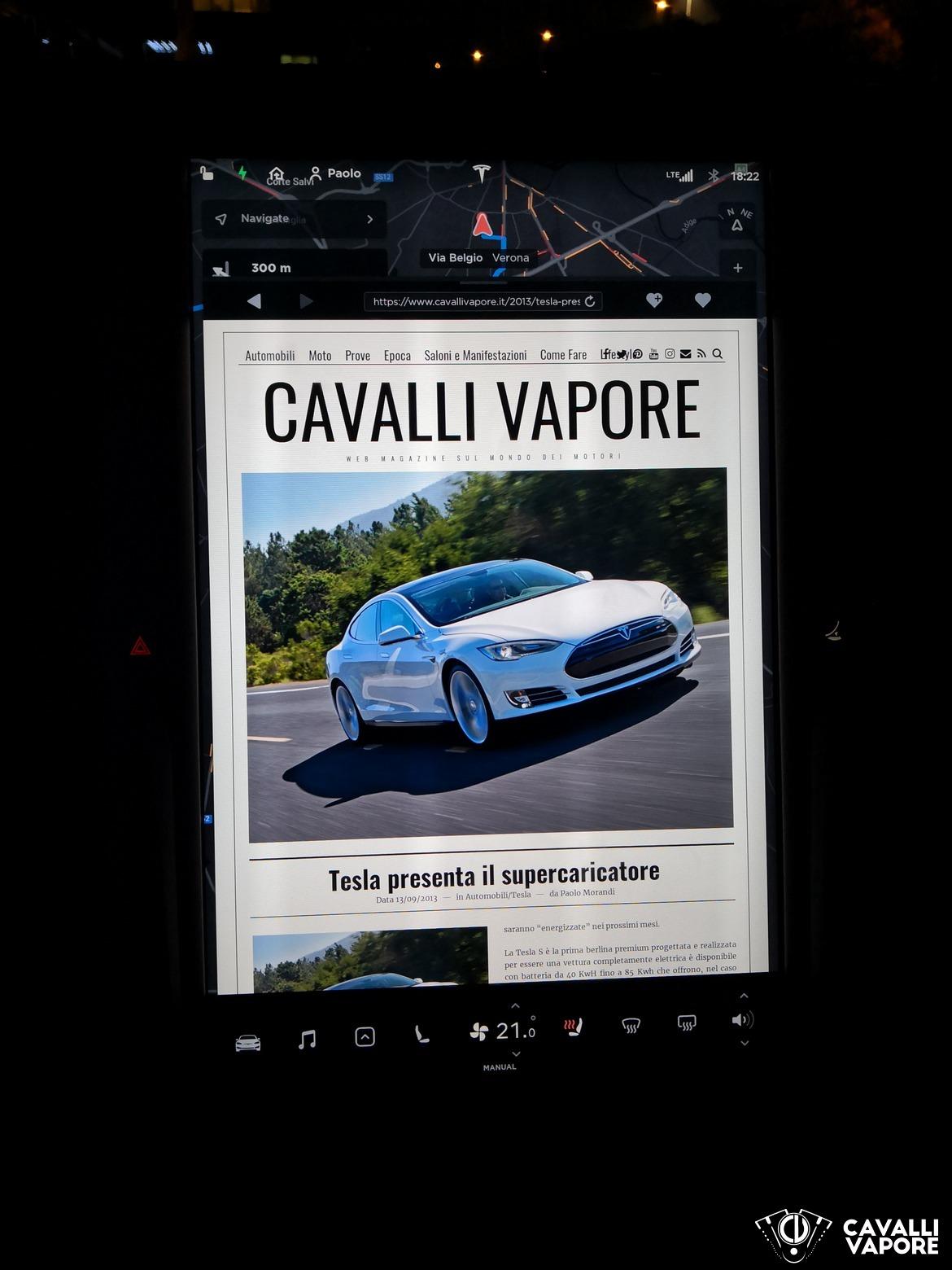 Tesla Model S 100D Cavalli Vapore su schermo