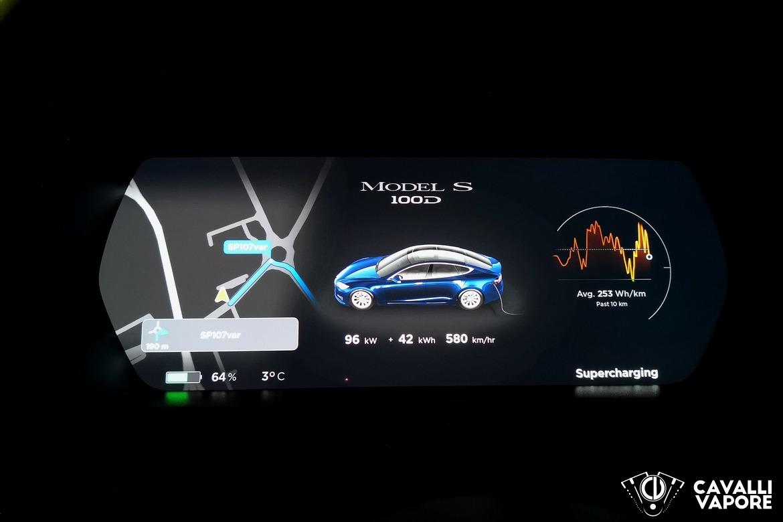 Tesla Model S 100D Dettaglio Cruscotto